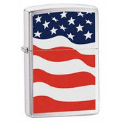 American Flag Brushed Chrome Zippo
