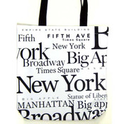 NYC Black Letters Canvas Tote Bag