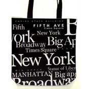 NYC White Letters Canvas Tote Bag
