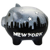NYC Skyline Grey/Black Ceramic Piggy Bank