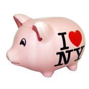 I Love NY Small Pink Ceramic Piggy Bank