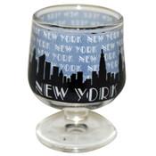 """NYC """"Grey Skyline"""" Mini Brandy Glass"""