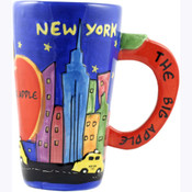 Java Mug Ceramic Hand Painted NY Design Apple Handle