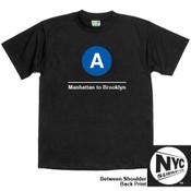 NYC Subway Line-A Train Mens Tee