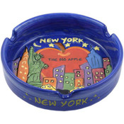 NYC Big Apple Hand Painted Blue Ashtray
