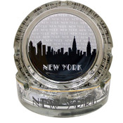 "NYC ""Grey Skyline"" Glass Ashtray"