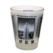 NYC Black & White Pictures Frosted Shot Glass