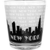 """NYC """"Grey Skyline"""" Clear Shot Glass"""