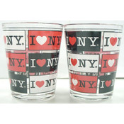 I Love NY 4-Panels Clear Shot Glass