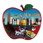 NYC Skyline Apple Shape Magnet