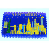 NYC 3D Night Skyline Poly Magnet