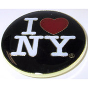 I Love NY Black Round Metal Magnet