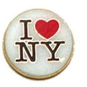 I Love NY White Round Metal Magnet