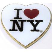 I Love NY White Heart Metal Magnet