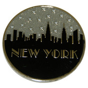 "NYC ""Grey Skyline"" Glitter Metal Magnet"