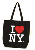 I Love NY Black Canvas Tote Bag