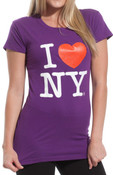 Purple I Love NY Fitted Tee Shirt