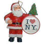 I Love NY Santa With Tree Christmas Ornament