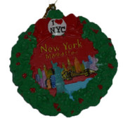 NY Manhattan Skyline Christmas Ornament