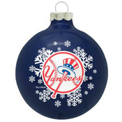 NY Yankees Blown Glass Christmas Ornament