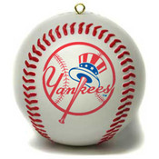 NY Yankees Baseball Blown Glass Christmas Ornament