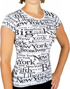 "NYC ""Black Letters"" Fitted Ladies Cap Tee - front"
