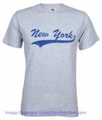 New York Underlined Grey/Navy Adult Tee