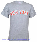 New York Ash/Red Distressed Adult Tee Shirt