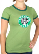 New York City Starbucks Design Ringer Teeshirt
