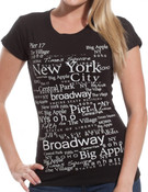 New York City Buroughs Black Fitted Teeshirt
