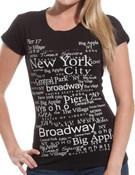 New York City Buroughs Black Fitted Teeshirt