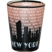 "NYC ""Grey Skyline"" Pink Shaded Shot Glass"