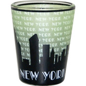 "NYC ""Grey Skyline"" Green Shaded Shot Glass"