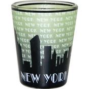 "NYC ""Grey Skyline"" Green Shaded Shot Glass"