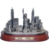 "NY Skyline 7"" Pewter Statue w/Wood Base"