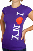 I Love NY Vertical Ladies Purple Cap Tee