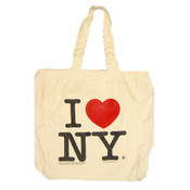 I Love NY White Canvas Tote Bag