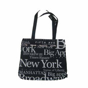 White Letters NYC Tote With Drawstring