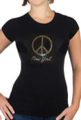 New York Peace Rhinestone Black Ladies Fitted Tee