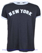 New York Embroidered Charcoal Ringer Tee Shirt