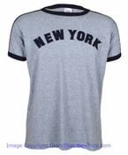 New York Embroidered Grey Ringer Tee Shirt