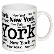New York Allover White/Black 11 oz Mug