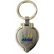 NYC Colorful Skyline Heart Shaped Keychain