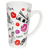 New York Lips Design White Java Mug
