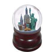 NYC Skyline Wood Base 100 mm Musical Snowglobe