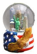 NYC Skyline with Eagle 100mm Musical Snowglobe - with WTC