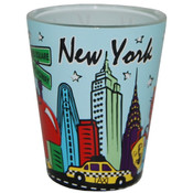 NYC Skyline Lt. Blue Pastel Shotglass