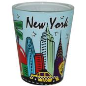 NYC Skyline Lt. Blue Pastel Shotglass