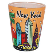 NYC Skyline Peach Pastel Shotglass