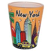 NYC Skyline Peach Pastel Shotglass